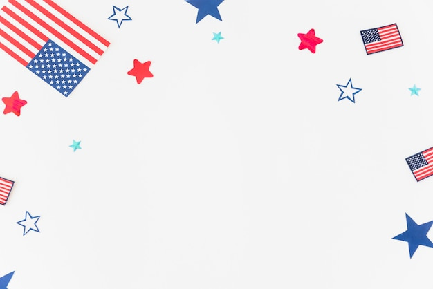 Partes da bandeira dos eua no fundo branco Foto gratuita