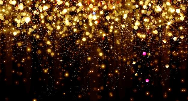 Partículas de bokeh dourado caindo e estrelas em um fundo preto, conceito de feriado de ano novo feliz Foto Premium