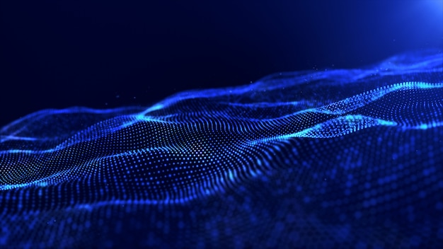 Partículas digitais de cor azul abstrato onda de fundo Foto Premium