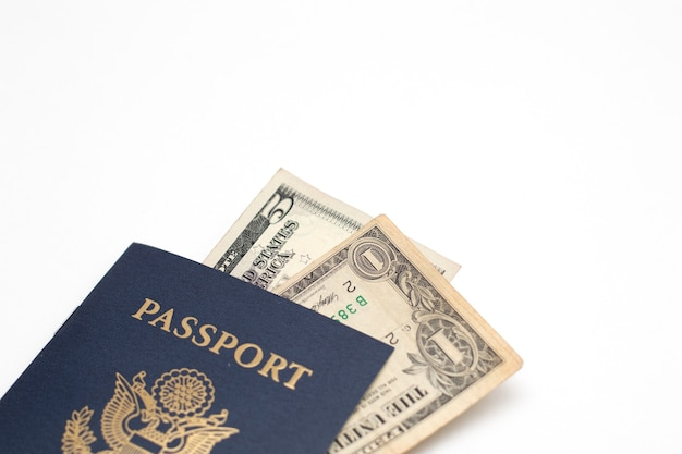 Passaporte dos eua e moeda das notas de dólar dos eua, Foto Premium
