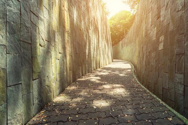 Passarela no jardim de manhã com a luz solar. caminho vazio para o fundo. Foto Premium