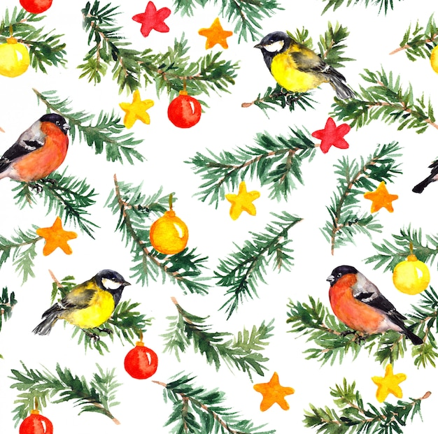 Pássaros na árvore do abeto com decoração de natal. padrão de aguarela Foto Premium