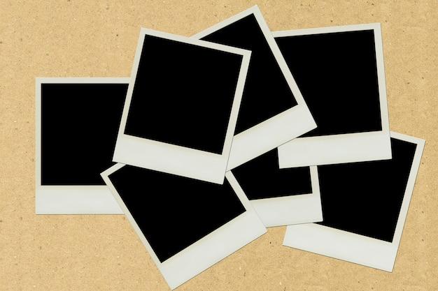 Pasta de molduras polaroid em papel pardo Foto Premium
