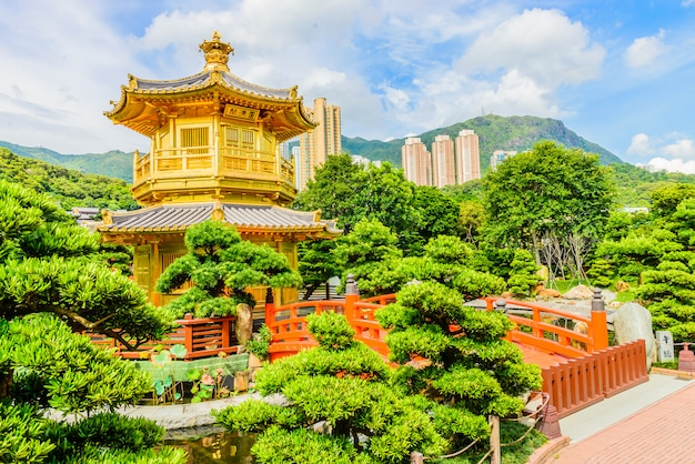 Pavilhão chinês de ouro no parque de hong kong Foto gratuita