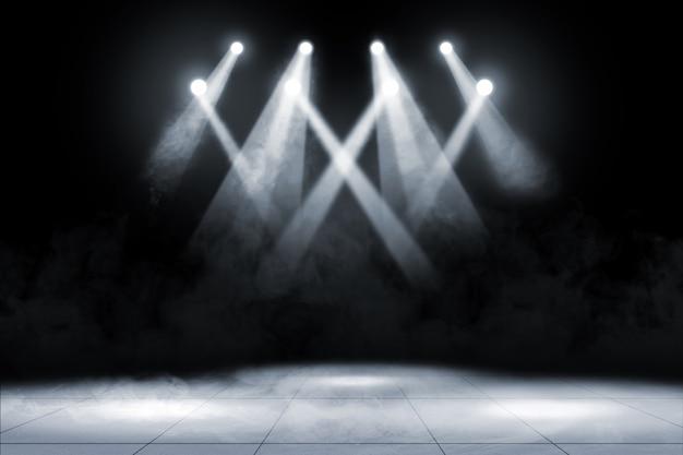 Pavimento em ladrilho com iluminação e fumo no local de concertos Foto Premium