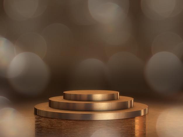 Pedestal dourado para exibição, plataforma de design, carrinho de produto em branco com bokeh de fundo. renderização em 3d. Foto Premium