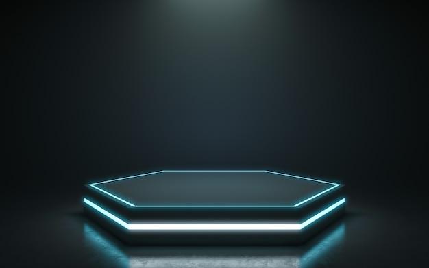 Pedestal futurista para exibição. pódio em branco para o produto. renderização em 3d Foto Premium