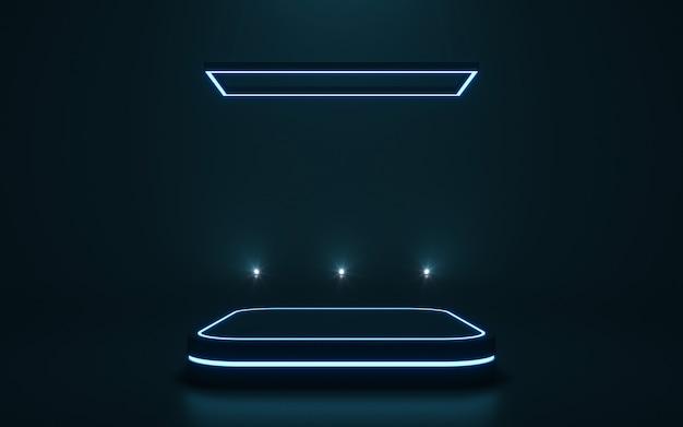 Pedestal futurista para exibição pódio em branco para o produto. renderização em 3d Foto Premium