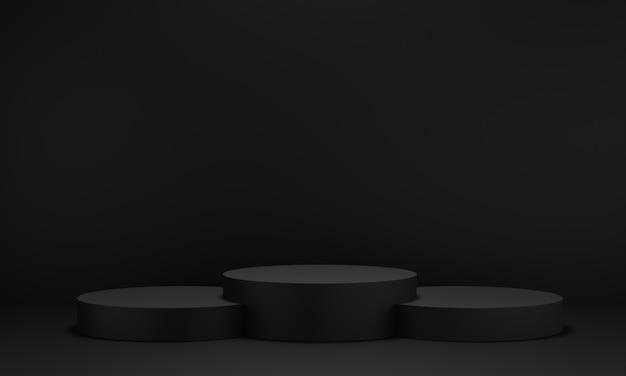 Pedestal preto para exibição. suporte de produto vazio com forma geométrica. 3d rendem. Foto Premium