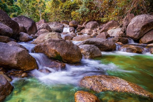 Pedra do rio e cachoeira, vista da árvore do rio de água Foto Premium