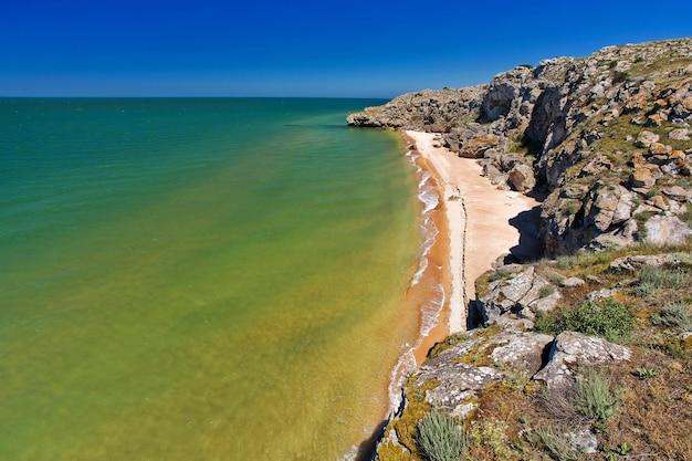 Pedra em uma praia arenosa Foto Premium