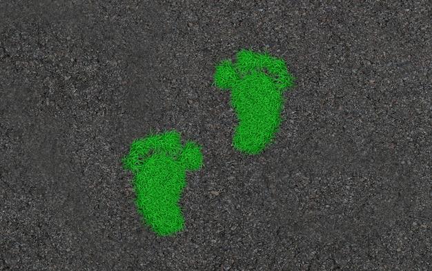 Pegadas na grama. ilustração 3d de arte conceitual ecológica Foto Premium