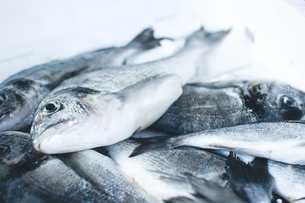 Peixe cintilante no mercado de peixe Foto gratuita