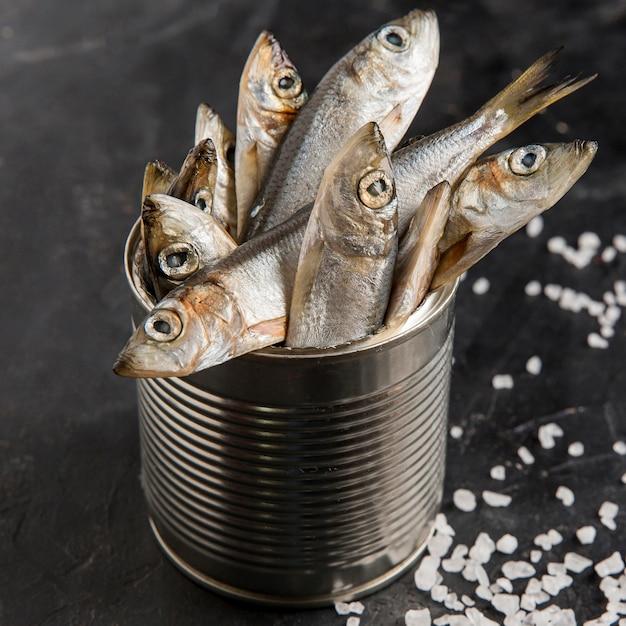 Peixe fresco delicioso e sal marinho Foto gratuita