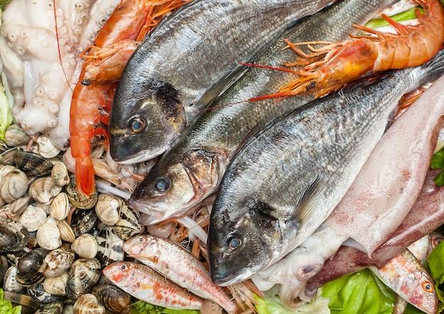 Peixe fresco e amêijoas Foto Premium