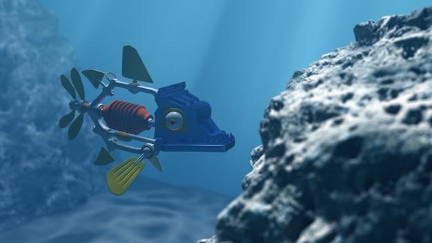 Peixe-robô na água profunda, renderização em 3d Foto Premium