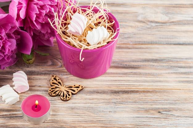 Peônia flores, doces Foto Premium
