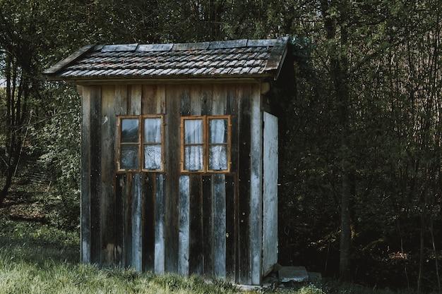 Pequena cabana de madeira com janelas marrons com cortinas brancas em uma floresta cercada por árvores Foto gratuita