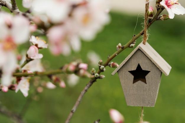 Pequena casa de madeira em uma árvore Foto gratuita