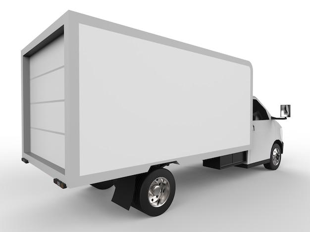 Pequeno caminhão branco. serviço de entrega de carro. entrega de mercadorias e produtos para lojas de varejo. Foto Premium