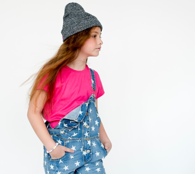 Pequeno, menina, confiança, auto estima, estúdio, retrato Foto Premium