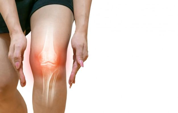 Perna humana osteoartrite inflamação das articulações ósseas Foto Premium