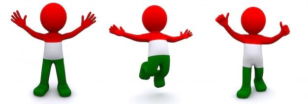 Personagem 3d texturizada com bandeira da hungria isolada no branco Foto Premium