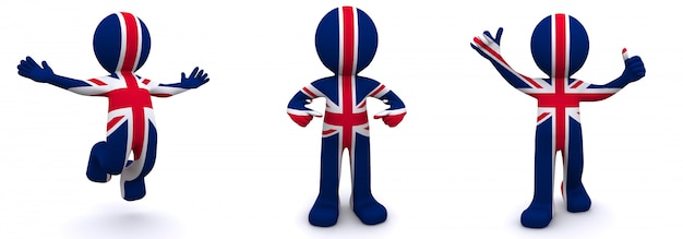 Personagem 3d texturizada com bandeira do reino unido Foto Premium
