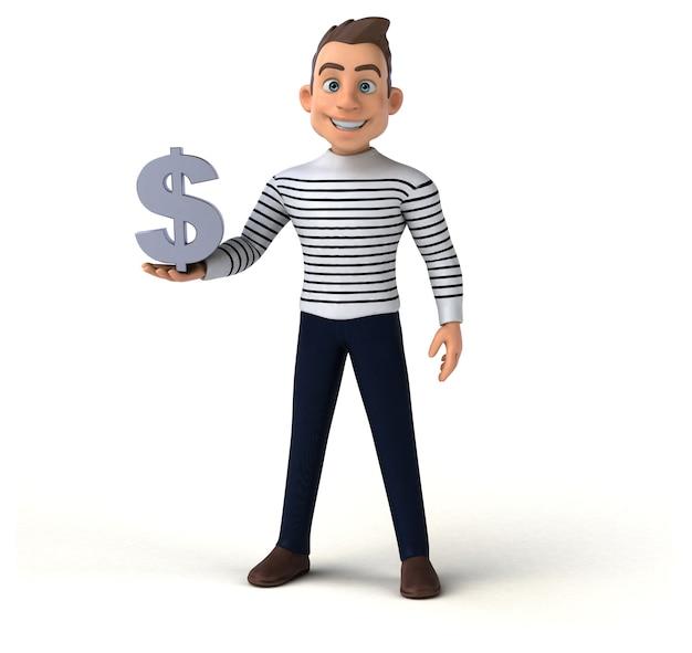 Personagem casual de desenho animado 3d Foto Premium