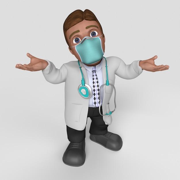 Personagem de desenho animado 3d em máscara facial Foto gratuita