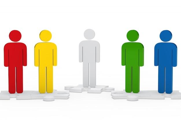 Personagens coloridos em partes do enigma Foto gratuita