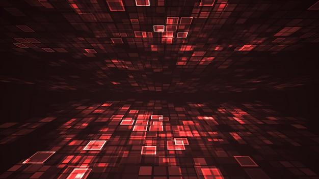 Perspectiva de grade de retângulo piscando luz vermelha abstrata Foto Premium