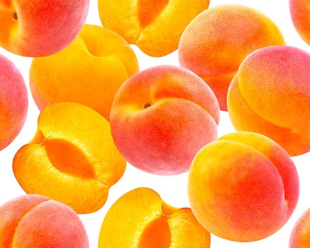 Pêssego padrão sem emenda. pêssegos maduros isolados no branco Foto Premium