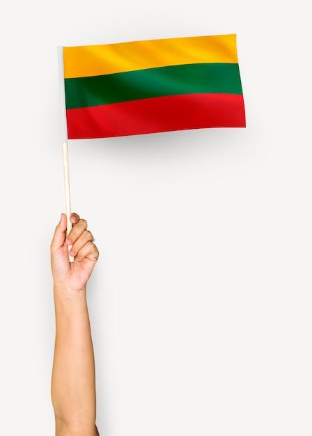 Pessoa acenando a bandeira da república da lituânia Foto gratuita