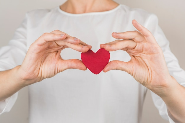 Pessoa, mostrando, decorativo, vinous, coração Foto gratuita