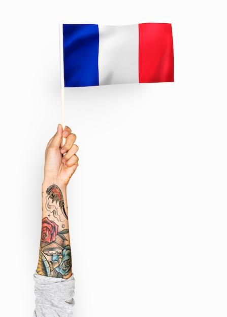 Pessoa, waving, bandeira, de, república francesa Foto gratuita