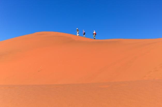 Pessoas andando na bela duna do deserto do namibe, viajando e caminhando na áfrica do sul Foto Premium