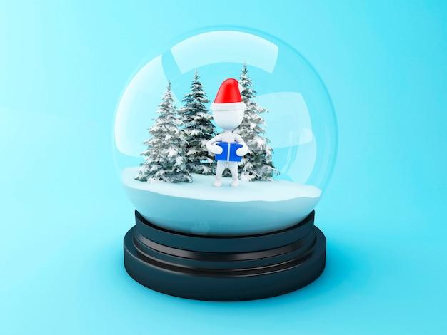 Pessoas brancas 3d com presentes de natal na cúpula de neve. Foto Premium