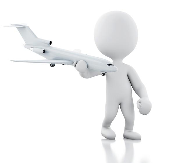 Pessoas brancas 3d com um avião. conceito de viagem Foto Premium