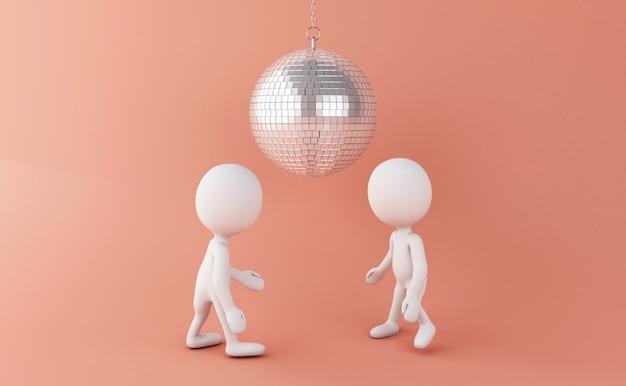 Pessoas brancas 3d dançando com bola de discoteca Foto Premium