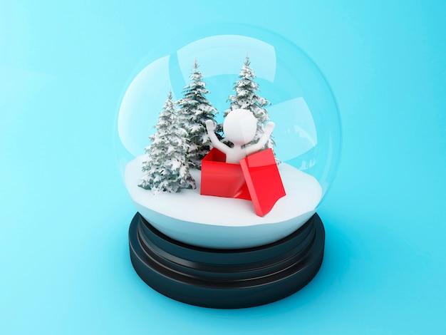 Pessoas brancas 3d dentro de um presente de natal na cúpula de neve. Foto Premium