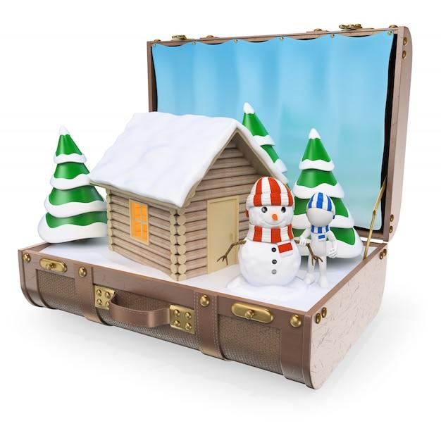 Pessoas brancas 3d. destinos de viagem. férias de inverno neve Foto Premium