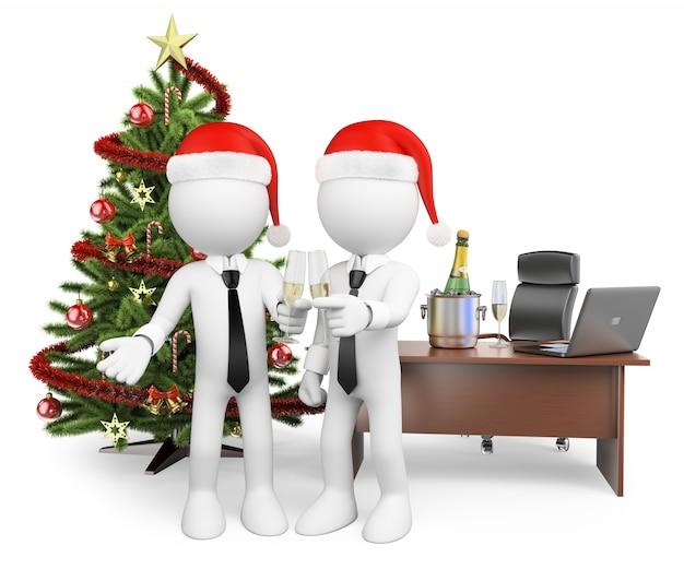 Pessoas brancas 3d. fazendo um brinde no escritório para o ano novo Foto Premium
