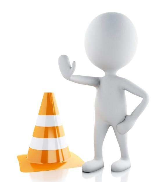 Pessoas brancas 3d param no sinal com cones de trânsito em fundo branco Foto Premium