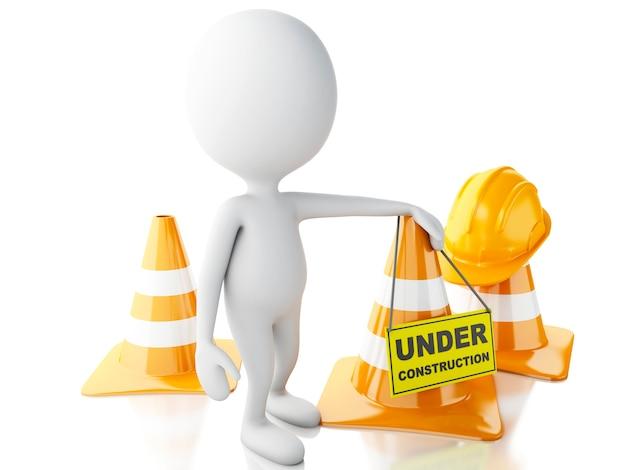 Pessoas brancas 3d param no sinal com cones de trânsito. sob o conceito de construção. Foto Premium