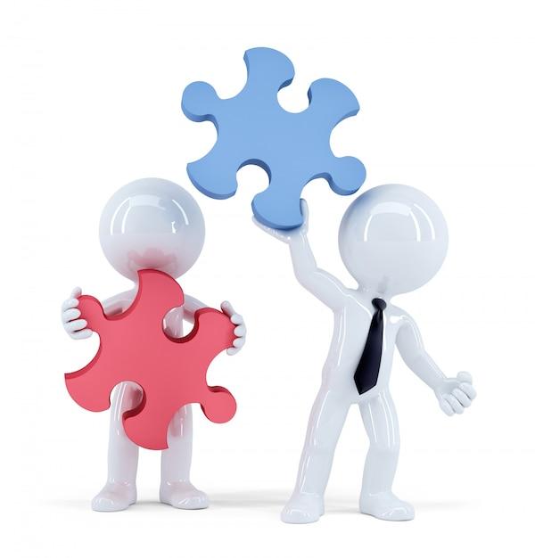 Pessoas de negócios com peças de quebra-cabeça. conceito de trabalho em equipe. isolado. contém o traçado de recorte Foto Premium