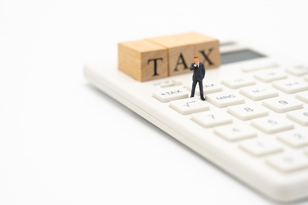 Pessoas em miniatura pague fila renda anual (imposto) para o ano na calculadora. Foto Premium