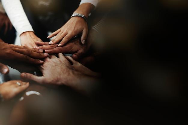 Pessoas, empilhando, mãos Foto Premium