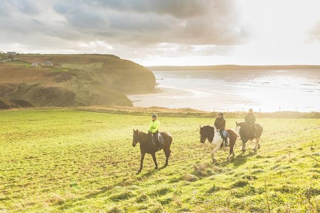 Pessoas, montando, cavalos, em, a, campo Foto Premium