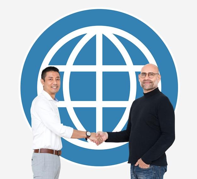 Pessoas negócio, apertar mão, frente, um, www, ícone Foto gratuita